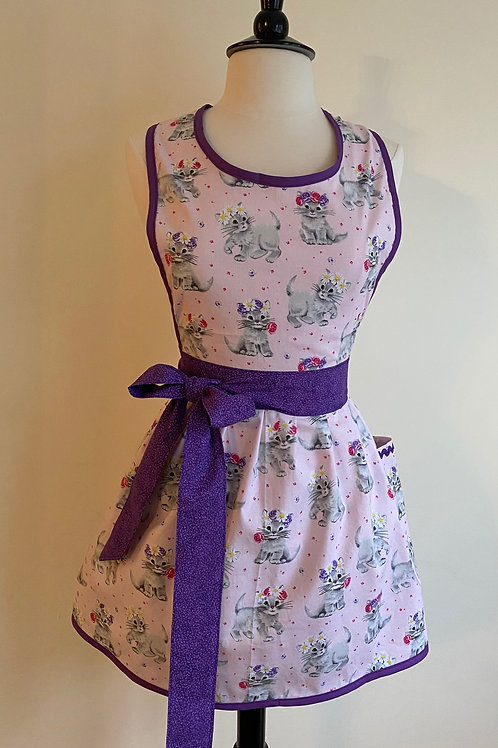 Floral Crowned Kittens Retro Apron
