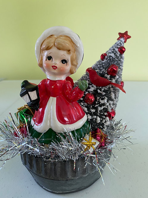 Vintage Christmas Girl Santa Decoration Centerpiece