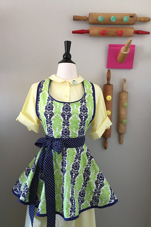 Retro Apron Navy Green Apron