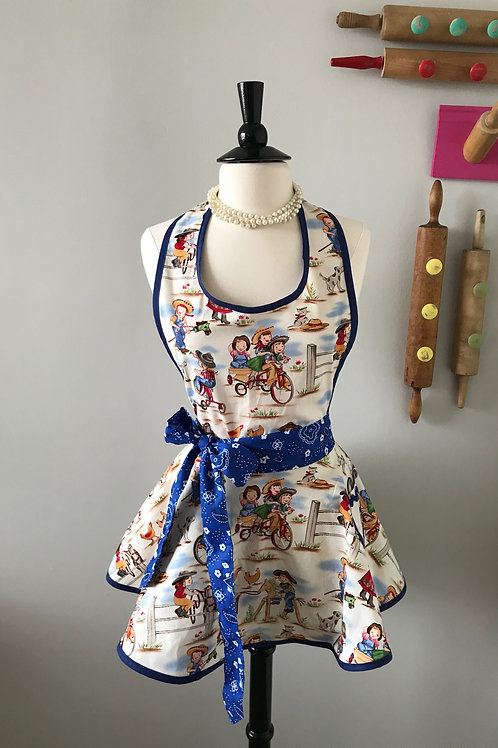 Retro Apron Cowpokes Circle Skirt Apron