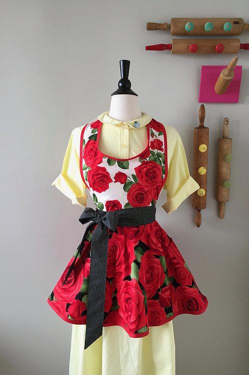 Retro Apron Romantic Roses Mixed Circle Skirt