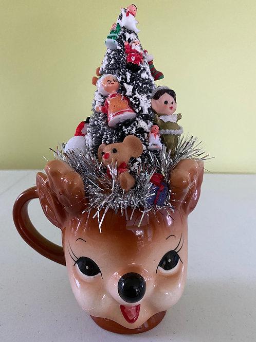 Vintage Christmas Decoration Centerpiece in Deer Mug #3