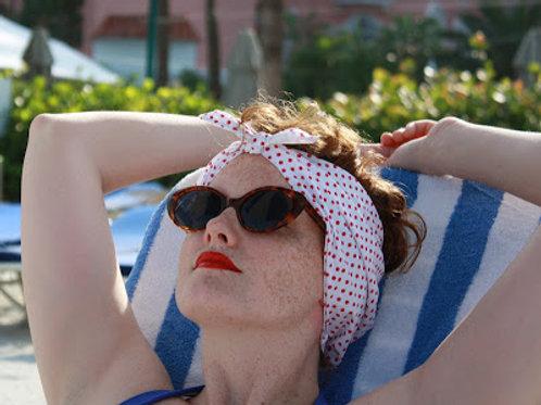 Lipstick Dots Waterproof Swim Head Wrap