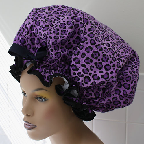 Purple Animal Print XL Sleep Bonnet