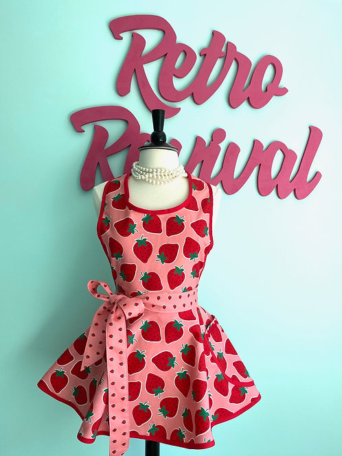 Giant Strawberries Pink Retro Apron