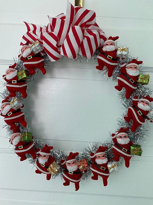 Vintage Kitsch Christmas Santa Tinsel Wreath