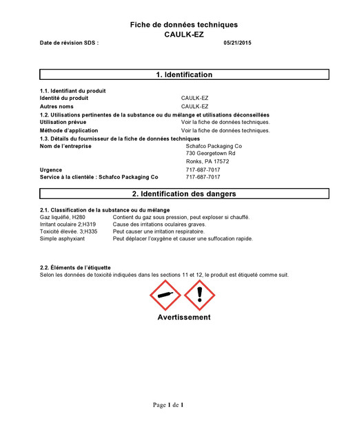 Safety Data Sheet (French-Canadian)