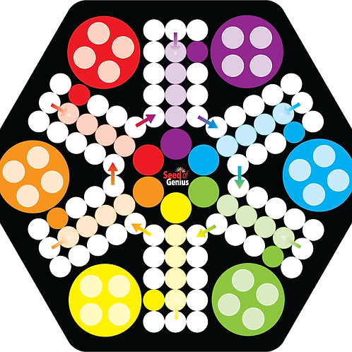 Premium Acrylic Family Ludo ~ 6 Players Hexa