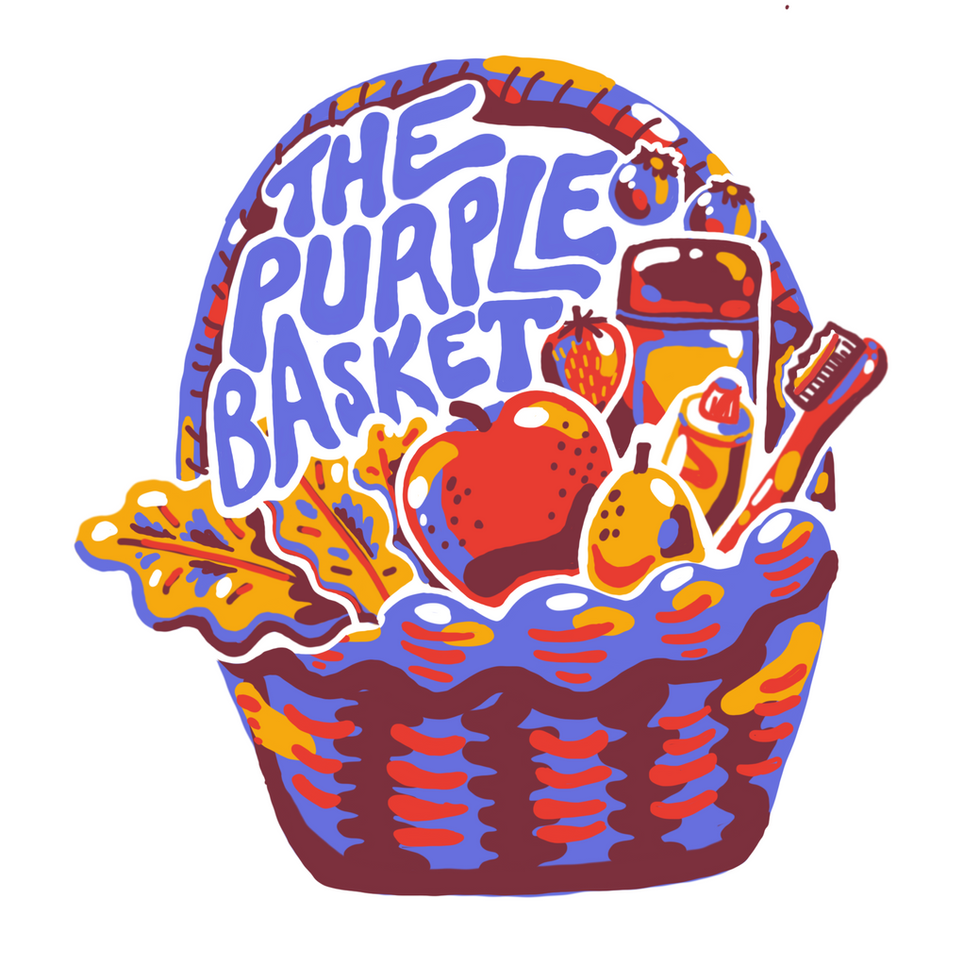 Logo for The Purple Basket, Westminster College's Food and Supply Bank.