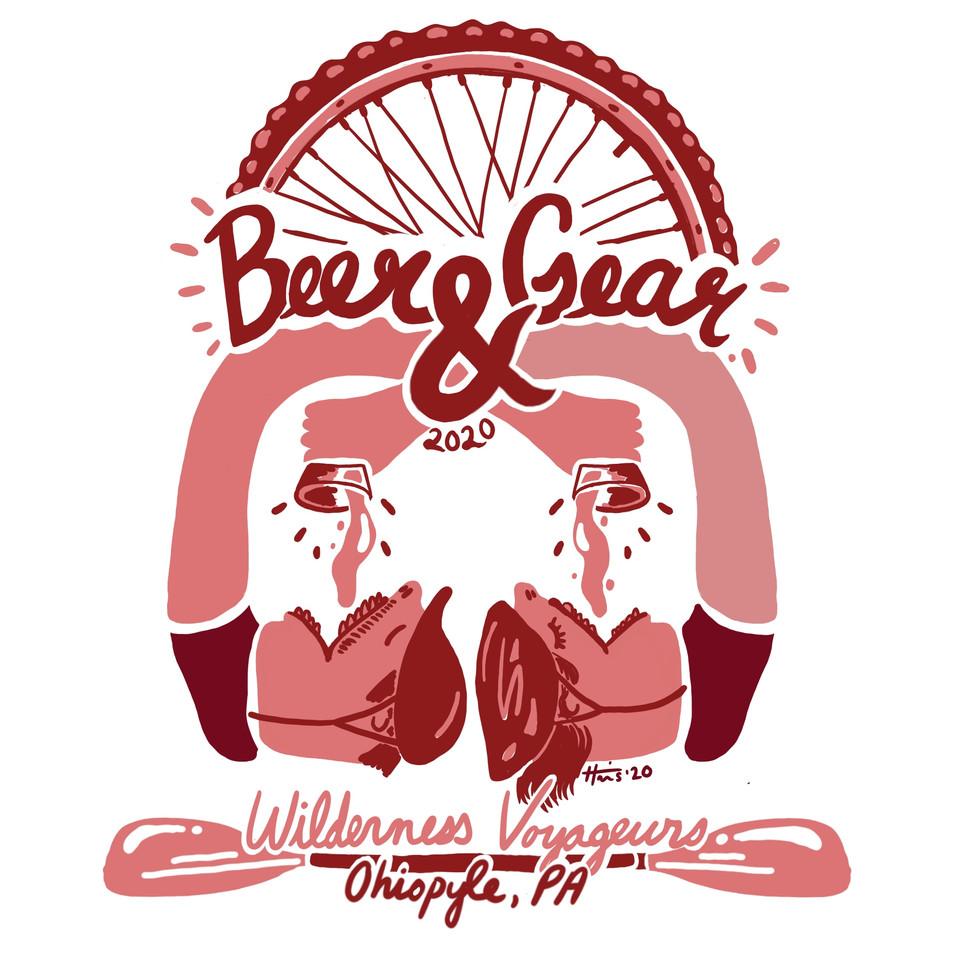 Wilderness Voyageurs' Beer and Gear pint glass design