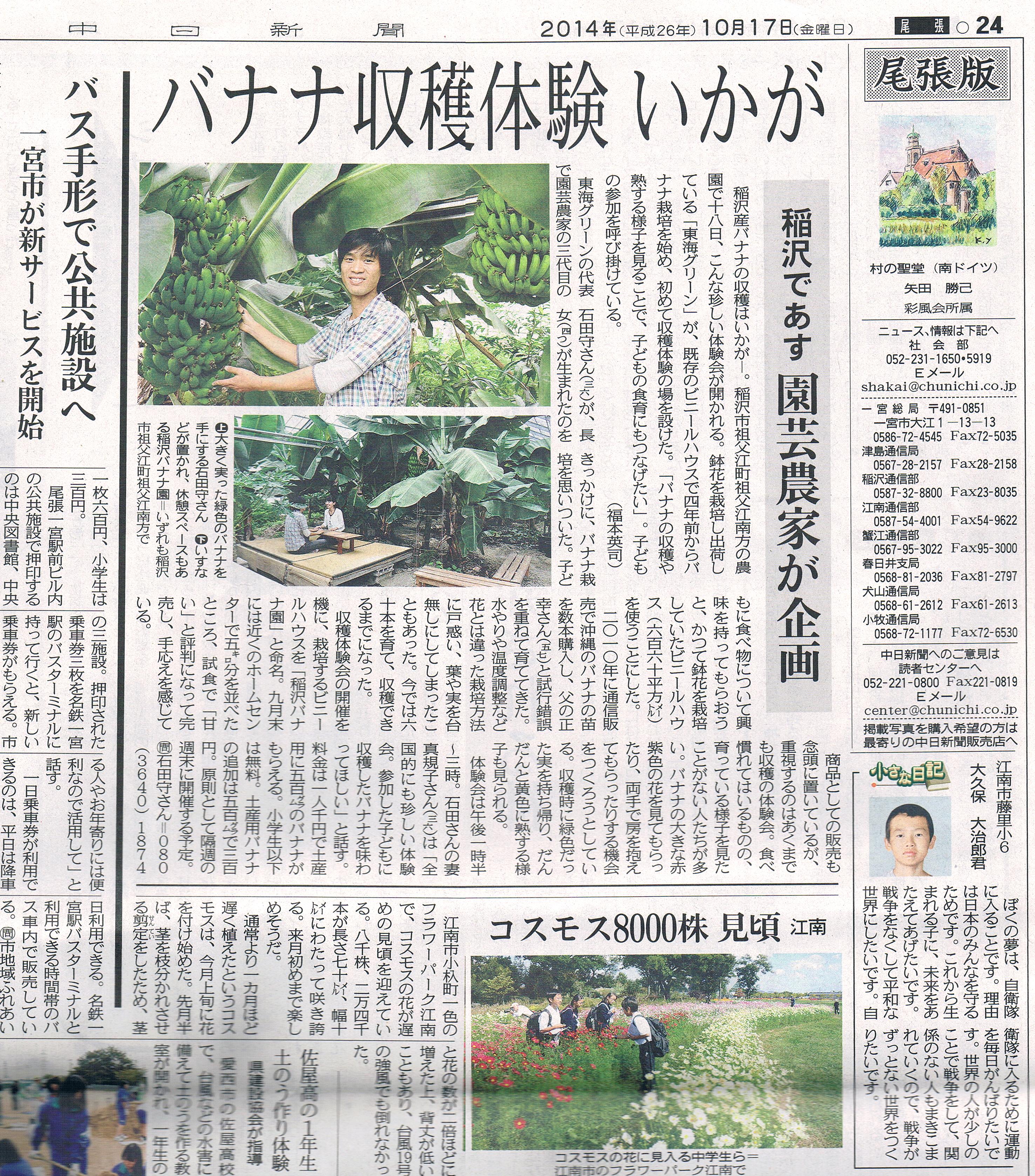 中日新聞バナナ園