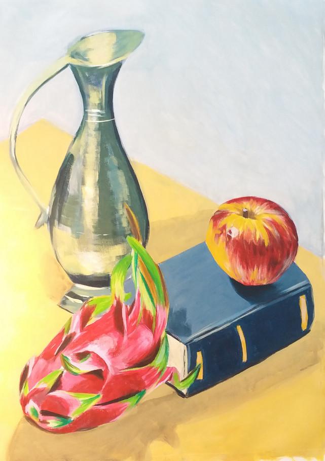 Dragon Fruit / Apple (acrylic on canvas)