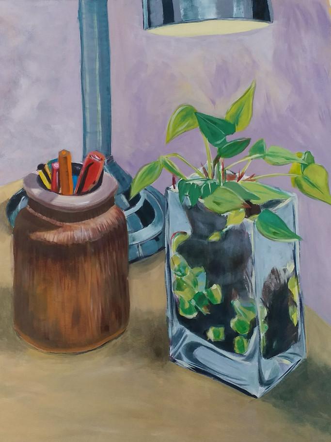 Still life with lamp (acrylic on canvas)