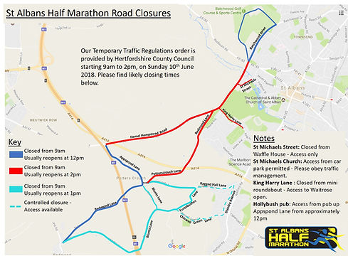 Road Closure Map St Albans Half Marathon