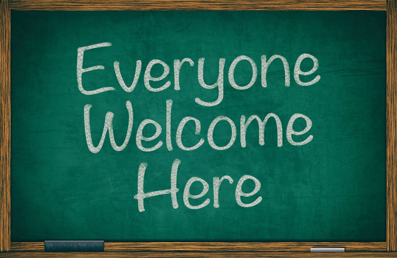 Everyone welcome here written on green c