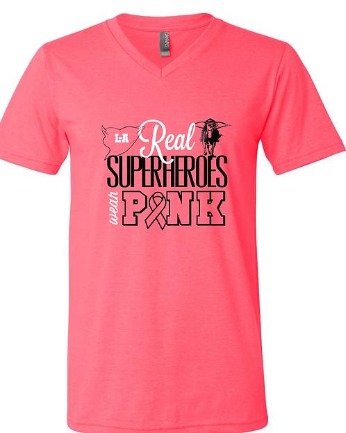 Real Superheroes Wear Pink tee