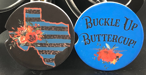 Buckle Up Buttercup car coaster