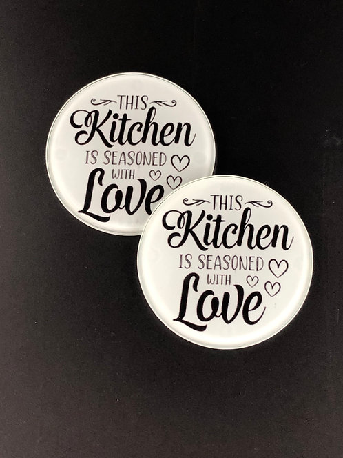This Kitchen is Seasoned with Love Glass Coasters