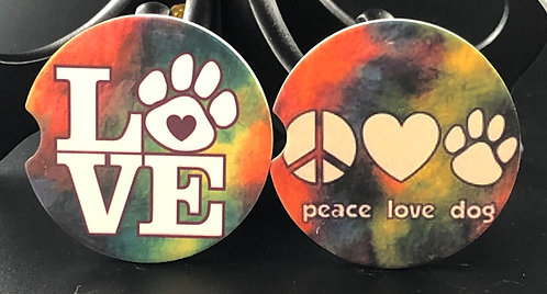 Love Dog car coasters