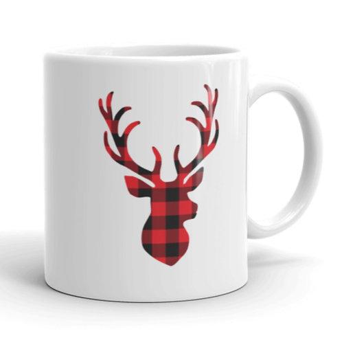 Plaid Deer Mug