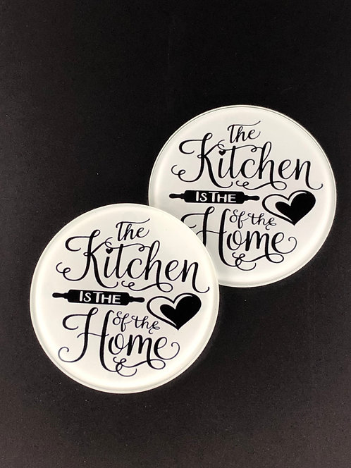 The Kitchen is the Heart of the Home Glass Coasters