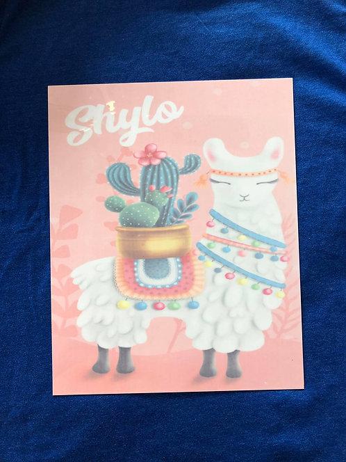 Llama/Cactus room sign (Personalized)
