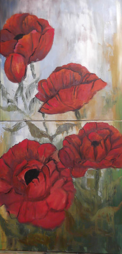 Five Red Poppies