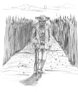 Old Man With Cane, Art by Jeff Niffen