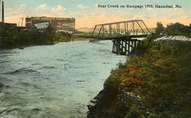 Navigation impediment - 1860: Early settler built short-lived hotel on pilings across Bear Creek