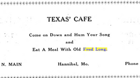 "For decades, diners invited to ""Eat A Meal With Old Fred Long"""