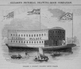 Peculiar-looking floating circus docked on town's riverfront: 1852