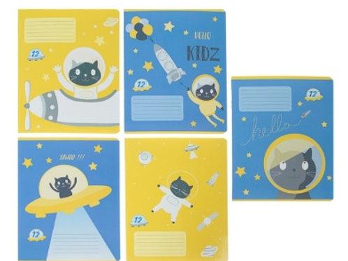 Тетрадь в линейку/клетку «Кот в космосе»