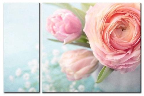 Модульная картина Розовые ранункулюсы