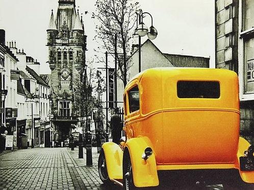 Картина на подрамнике Желтый ретро-авто