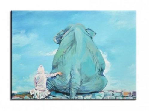 Картина на холсте «Слон и девочка в голубых тонах»