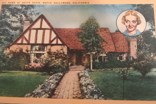Bette Davis 1940s North Hollywood Residence Vintage Postcard