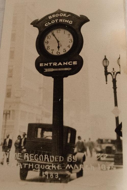 Brooks Clothing Clock from Compton 1933 Earthquake