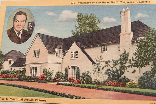 Bob Hope North Hollywood Residence Vintage Postcard from 1930s