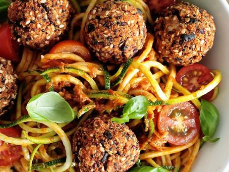 Vegan black bean and quinoa balls with buckwheat spaghetti