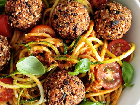 Vegan black bean and quinoa balls with buckwheat spaghetti