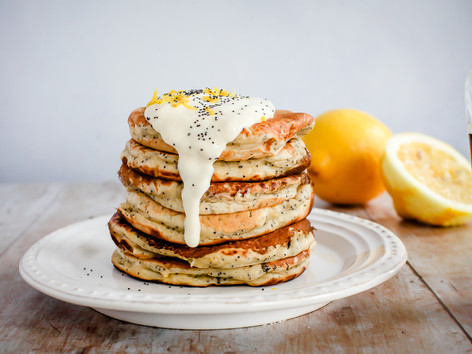 Vegan lemon and poppy seed pancakes
