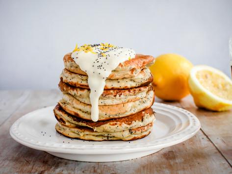 Vegan lemon and poppy seed pancakes