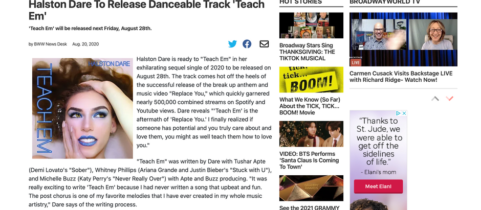 Broadway World: Halston Dare To Release Danceable Track 'Teach Em'