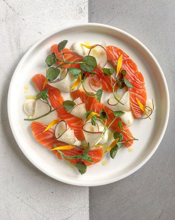 Cured trout with white peaches, creme fr