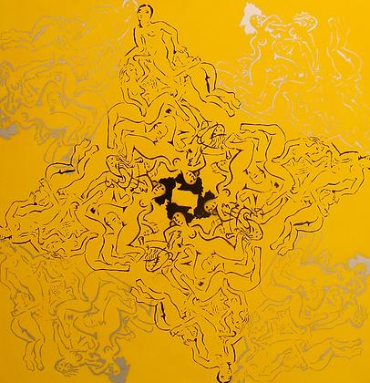 Composição giratória em amarelo, prata e preto, 2011 - Fernando de La Rocque