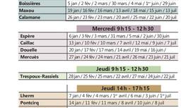 Calendrier 2021 des lieux et jours de passage du bus des Services Publics