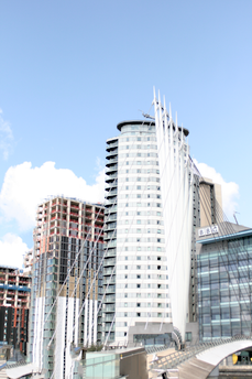The Media City Footbridge with TheHeart Apartments by BridgeStreet