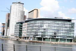 BBC Telvision Centre with full view of TheHeart Apartments by BridgeStreet