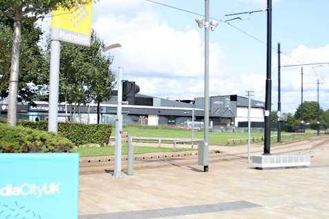 SIS Sound Stages in Background with Tram stop