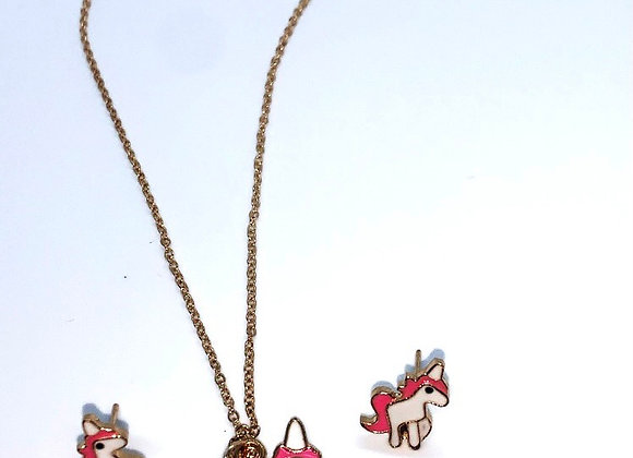 Unicorn necklace and matching earrings